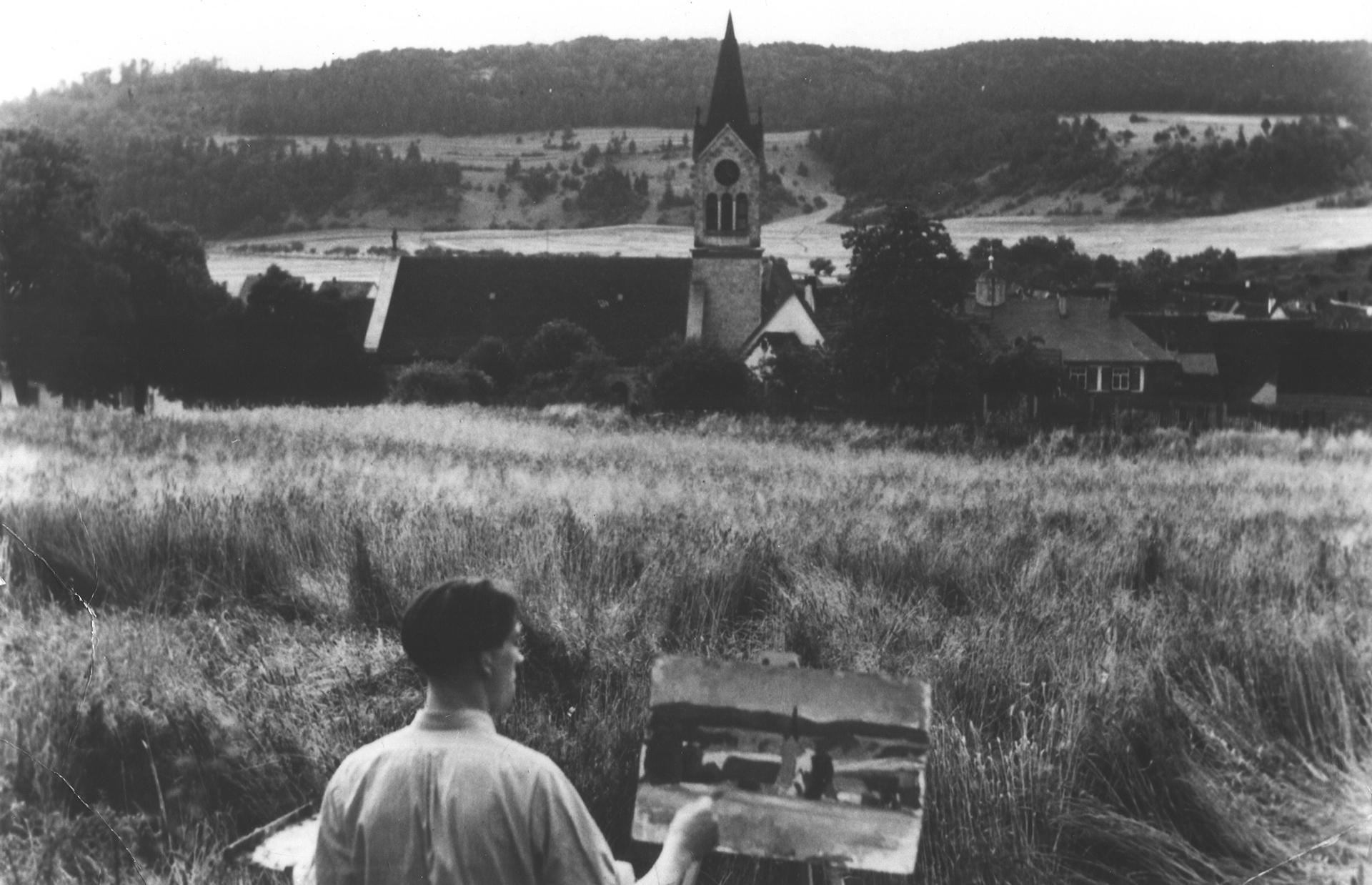 Hans Bucher vor Fridinger Kulisse